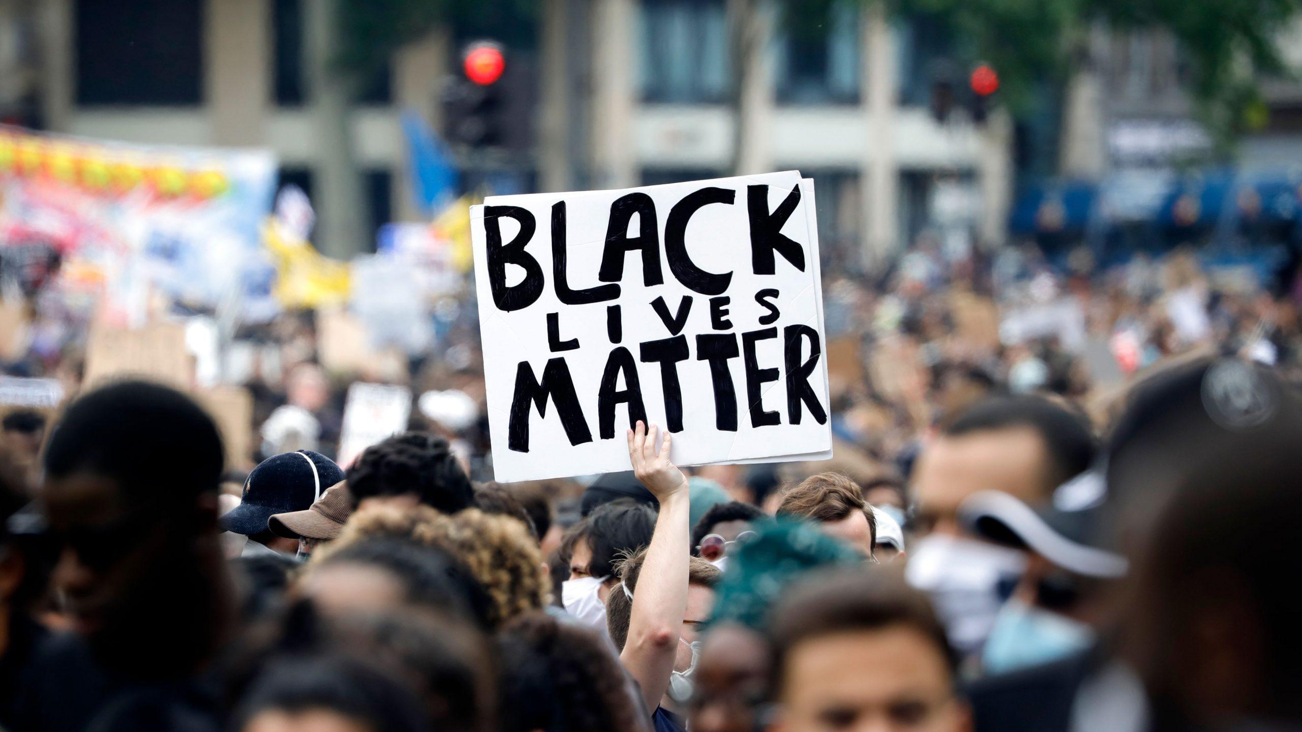 Black Lives Matter sign in protest